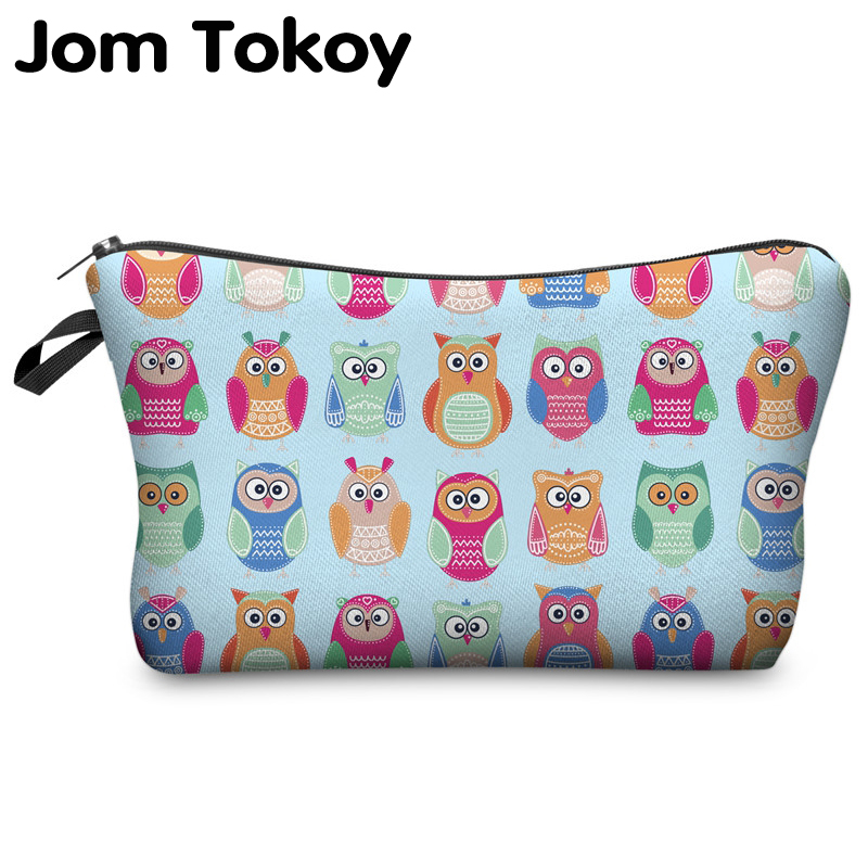 Jom Tokoy 2018 cosmetic organizer bag Owl 3D printing Cosmetic Bag Fashion Women Brand makeup bag jom tokoy unicorn 3d printing cosmetic bag women makeup bag 2017 fashion cosmetic cares trousse de maquillage neceser