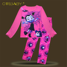 e67b6f2ed2 Children Vampirina Pyjamas Girls Spring Fall Vampire Cartoon Printing  Pattern Pajamas Set 100% Cotton Sleepwear Pajamas for Kids