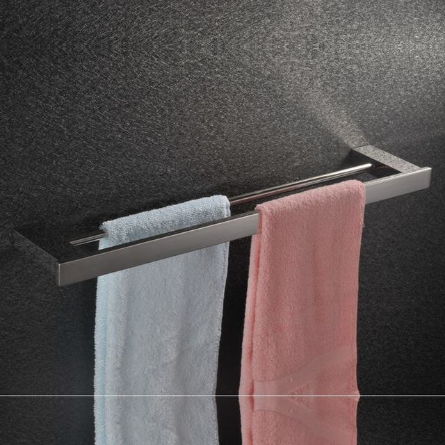 Charmant Sus304 Stainless Steel Double Towel Rack Fashion Square Bathroom Double  Towel Bar Bathroom Accessories