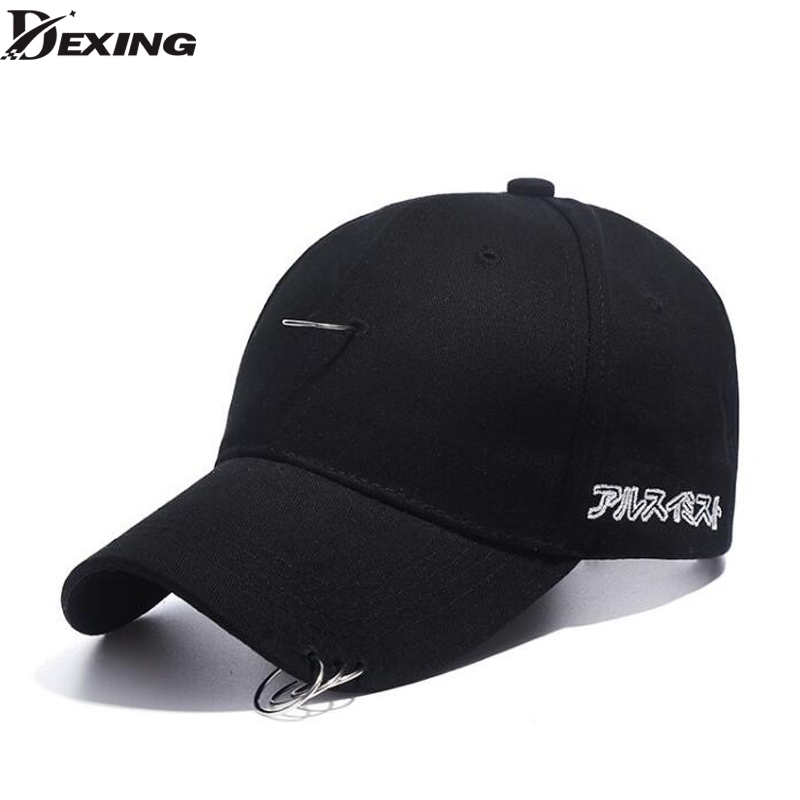 [Dexing] men cap black unisex Ring hats baseball cap men women snapback caps hip hop fashion baseball cap with rings fashion sports baseball cap men