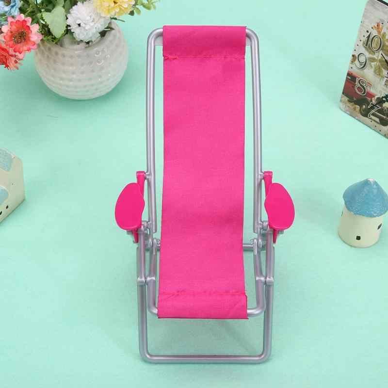 1Pc Meubels Schommelstoel Strandstoel Lounge Voor Pop Prinses Opvouwbare Deckchair Voor Mooie Miniatuur Voor Poppenhuis