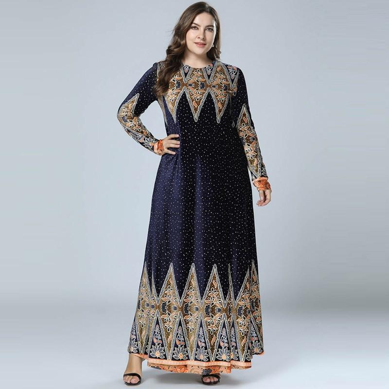 Winter Velvet Print Abaya Muslim Maxi Dress Islamic Arabic Abayas Long Sleeve Dress Pakistani Dubai Dresses For Women M-4XL