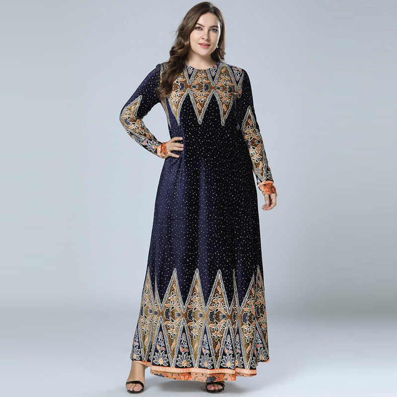 9efc1b78b8 Winter Velvet Print Abaya Muslim Maxi Dress Islamic Arabic Abayas Long  Sleeve Dress Pakistani Dubai Dresses