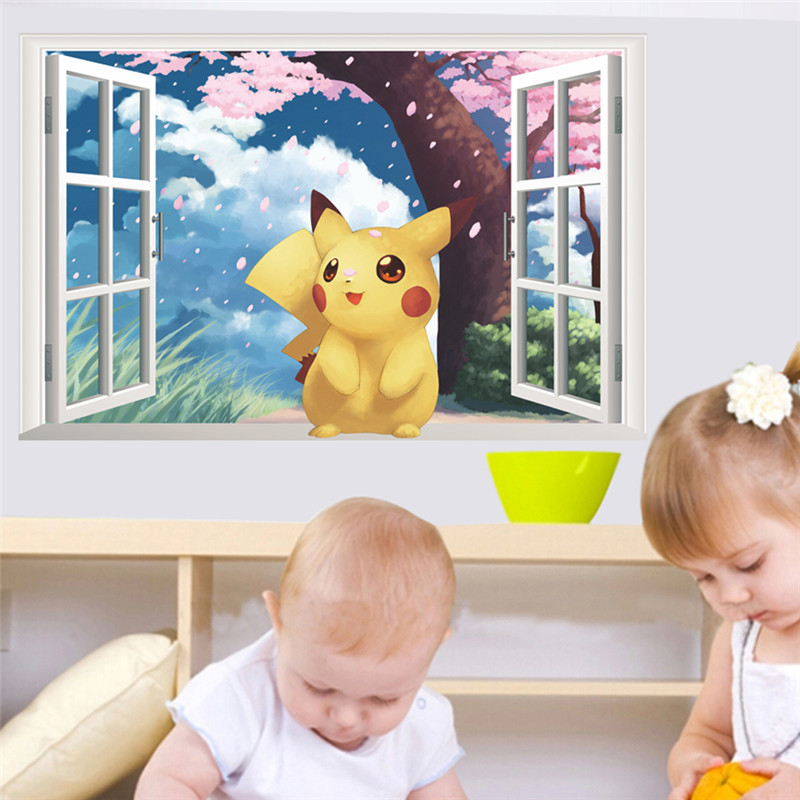 Cartoon Pikachu Pokemon Go Wall Stickers For Kids Rooms Childrens Gift 3d Window Wall Decals Poster Nursery Decor Mural ...