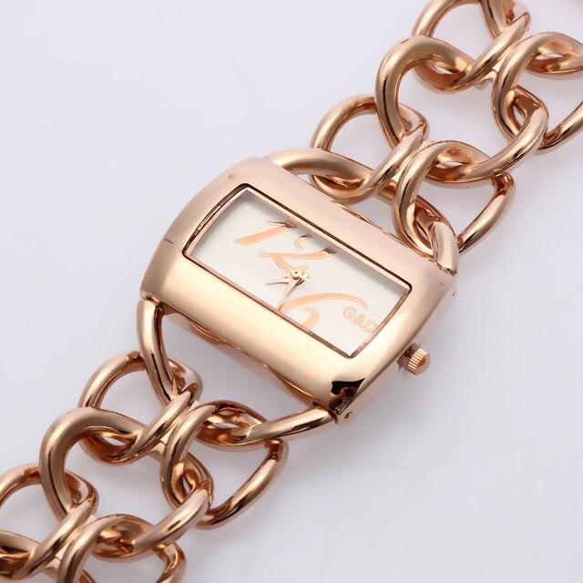 2018 New Fashion G&D Women Watch Rose Gold Stainless Steel Band Analog Bracelet Watch Women's Luxury Quartz Wrist Watches Clock