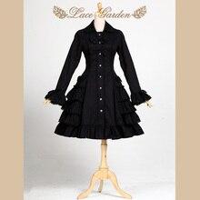 Черный Тренч в стиле Одри Хепберн Винтажный стиль с длинным Расклешенным рукавом Лолита пальто от кружева сад
