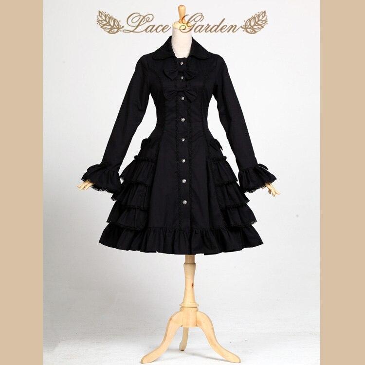 Черный Одри Хепберн Тренч Винтаж Стиль длинными расклешенными рукавами Лолита пальто по Кружево сад