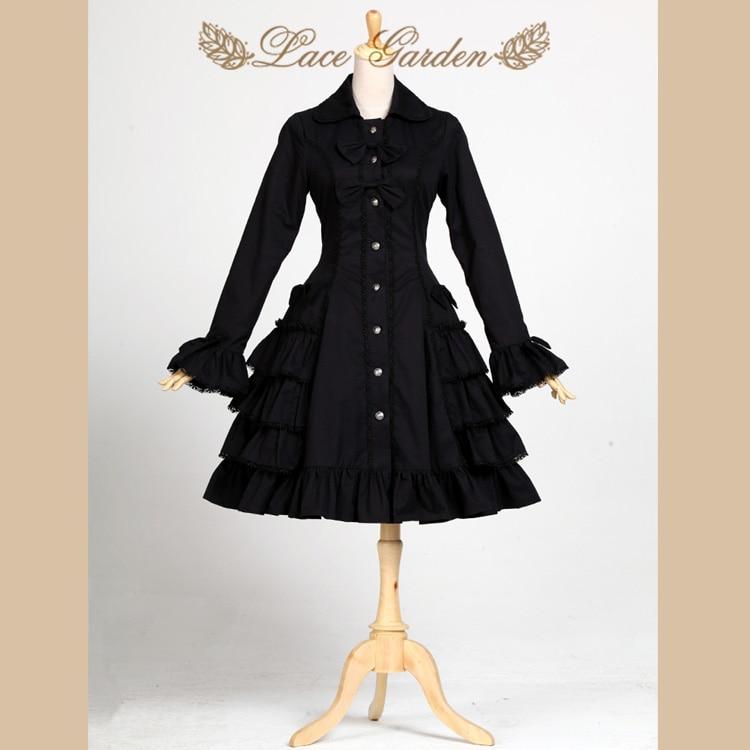 Black Audrey Hepburn Trench Coat Vintage Style Long Flare Sleeve Lolita Coat by Lace Garden