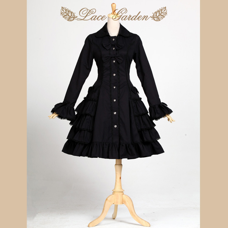 Black Audrey Hepburn   Trench   Coat Vintage Style Long Flare Sleeve Lolita Coat by Lace Garden