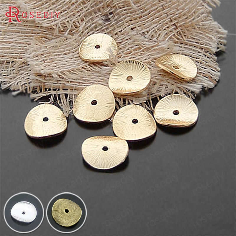 (20543)50PCS 15x14MM Gold Color Zinc Alloy Round Curved Brushed Disks Spacer Beads Diy Jewelry Findings Accessories Wholesale