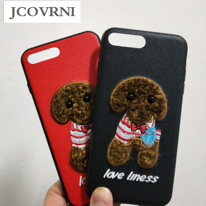 JCOVRNI Nette plüsch Teddy hund stickerei muster für iPhone 7 7 Plus all-inclusive hard shell für iPhone8 8 plus telefon abdeckung coque