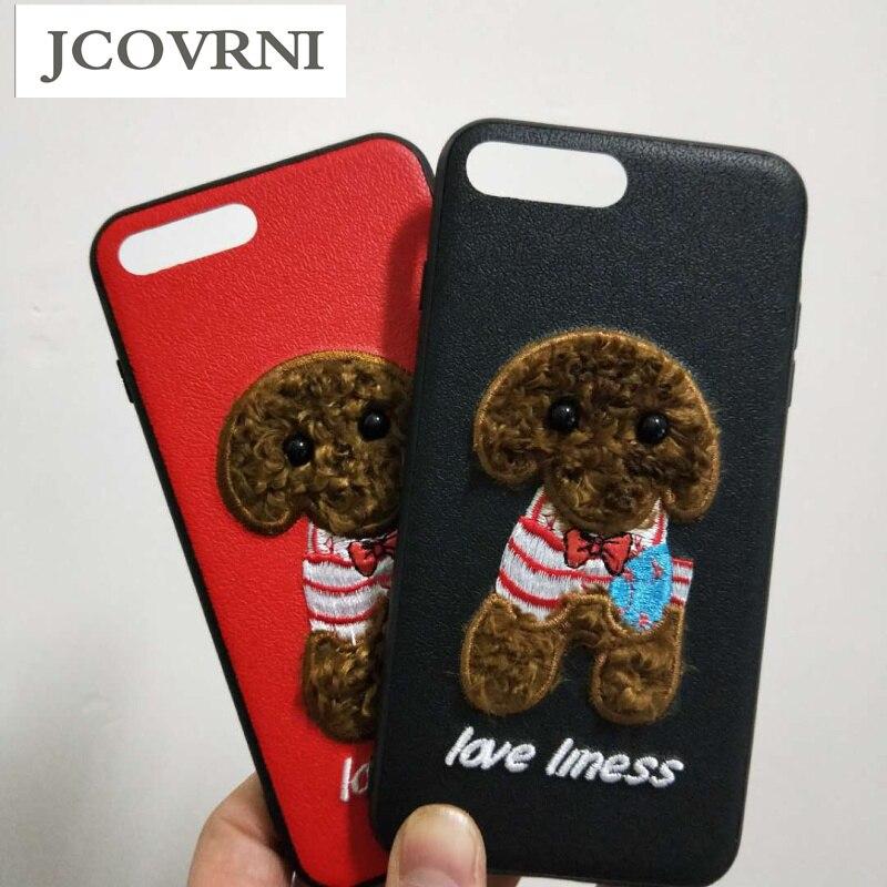 JCOVRNI peluche lindo perro patrón de bordado para el iPhone 7 7 más todo incluido shell duro para iPhone8 8 más teléfono cubierta coque