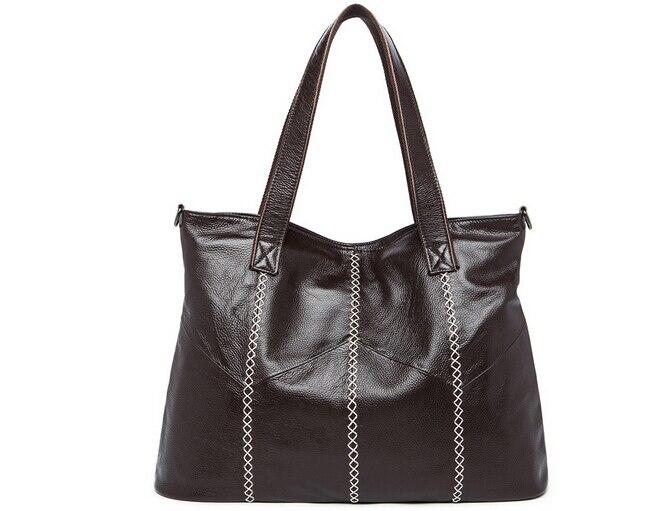 High Quality Soft Genuine Leather Top-handle Bag Fashion Women messenger Bag Larger Shoulder Bag Waterproof Women Bag #6801#