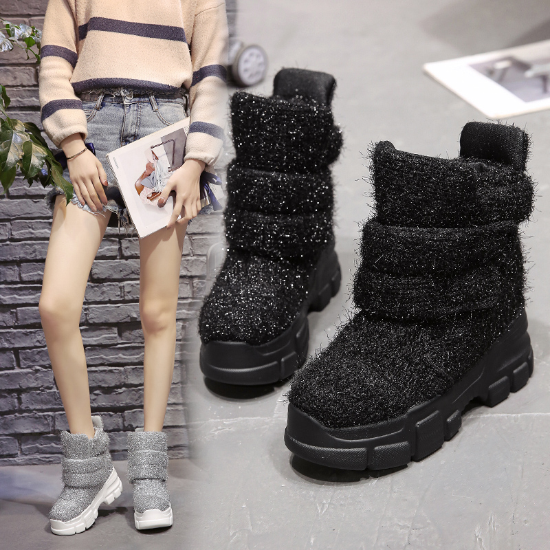 Image 2 - 2019 Women Winter Ankle Boots Wedge Platform Sneakers Woman Boots 10CM Height Increaseing High Top Shoes Autumn Botas Feminina-in Ankle Boots from Shoes