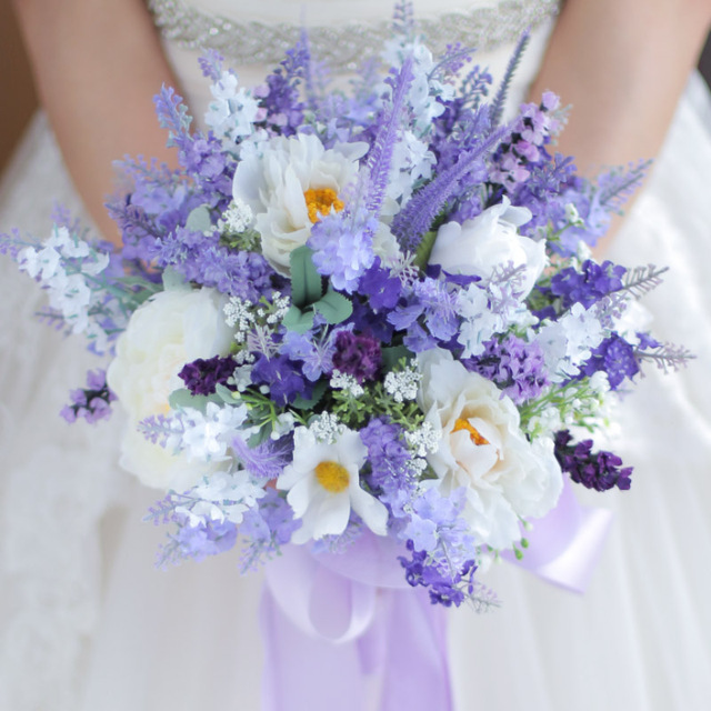 Fashion personality lavender flowers white flowers romantic wedding ...