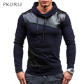 2017 Hoodies Men Casual Tracksuits Pullover Turtleneck Sweatshirt PU Patchwork Slim Fit Hooded Mens Hoodies And Sweatshirts