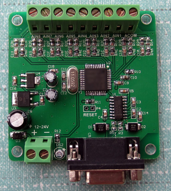 Serial port RS232 Collector Card 8 4-20mA ma current or voltage analog input MODBUS