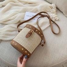 New Fashion Hasp Leather Bucket Beach Bag for Women 2019 Straw Totes Bag Summer Bags Women Handbag Rattan Shoulder Bags Female цена и фото