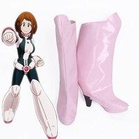 My Hero Academia Boku no Hero Academia OCHACO URARAKA Cosplay Boots Pink High Heel Shoes Custom Made SZ0070