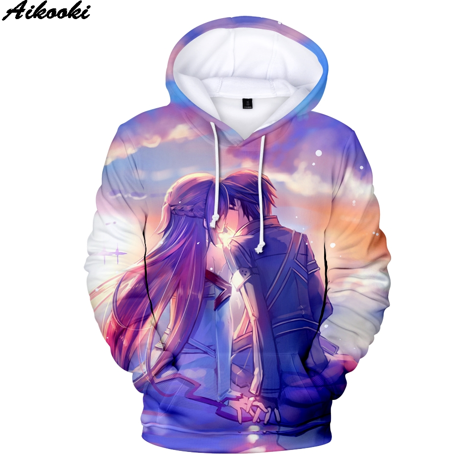 2019 Fashion Hoodies Sword Art Online Men Women Winter 3D Hoodies Anime Sweatshirts Sword Art Online Pullovers Boys/Girls