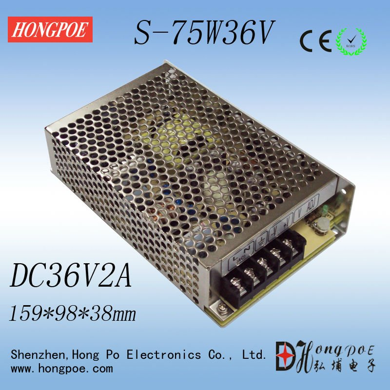 Free shipping 75W 36V Power Supply 36V 2A LED Driver S-75-36 LED Power Supply, Economical type 36V2A 110-220V 1PCS 90w led driver dc40v 2 7a high power led driver for flood light street light ip65 constant current drive power supply