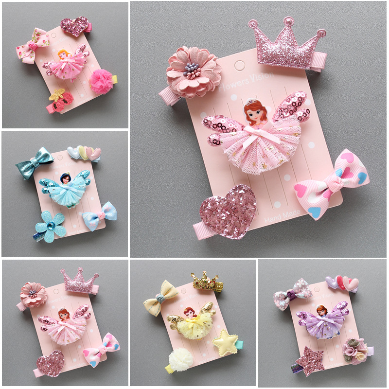 5Pcs//Set Bowknot Baby Hair Clips Crown Hairpins Bows Kids Barrettes Headwear