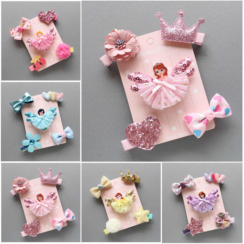 5Pcs//Set Kid Baby Girls Lovely Hair Clip Bowknot Hairpin Cartoon Barrettes Soft