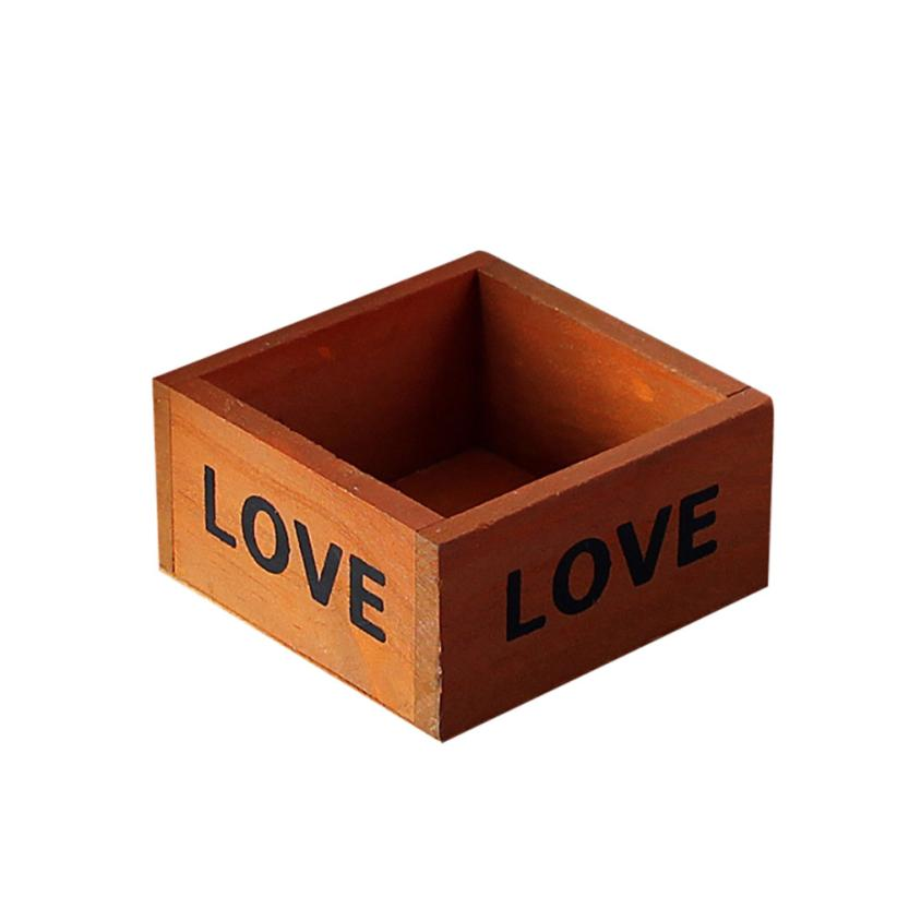 Storage Box Wood Retro Style Wooden Succulent Plants Containers Flower Pot Square Garden Organizer Case Boxes 18FEB28