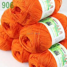 Lot of 6 Skeins Super Soft Natural Bamboo Cotton Knitting Yarn Orange 906