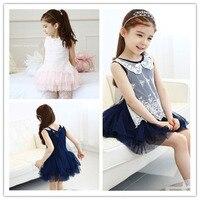 Baby Girls Princess Lace Summer Dress Kids Vest Dresses Toddler girls Doll collar tutu dress blue pink for 2~7 y Christmas Gift