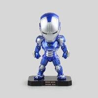 마블 블루 ace 공격 철 남자 3 mk 42 마크 vii PVC 액션 피규어 소장 모델 장난감 LED 빛 16 센치메터 휴일 선물