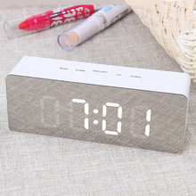 JULY S SONG Digital Mirror LED Alarm Clock Night Lights Thermometer Wall Clock Lamp Square Rectangle