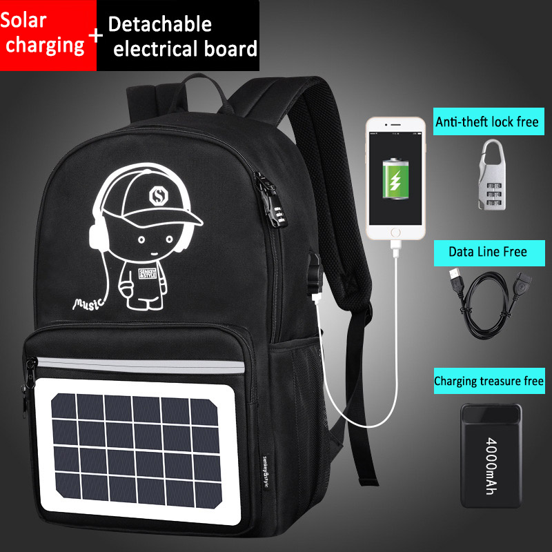 2018 High capacity Cool Solar Powered Backpack USB Charging Anti-Theft Laptop Backpack for Men Shoulder Bags 88 Best Sal