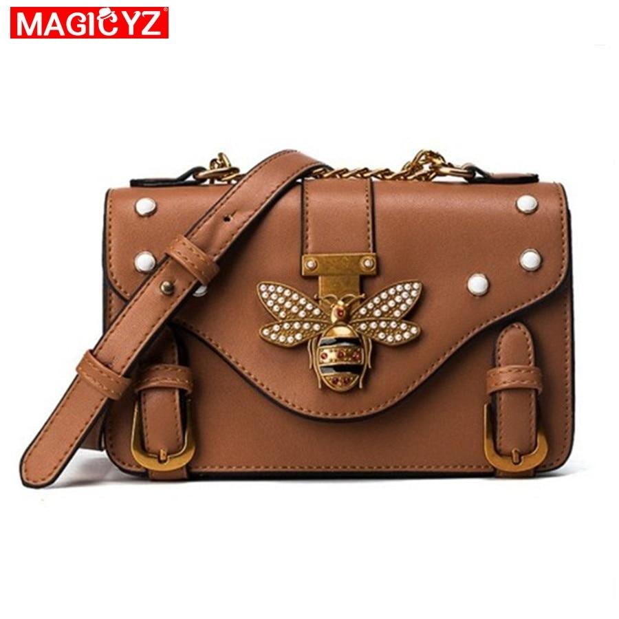 MAGICYZ Crossbody Bag For Women Leather Luxury Handbag Bee C