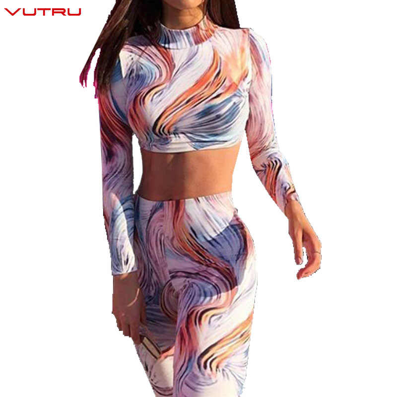 Vutru Yoga Suits Women Floral Printed Sport Set Long Sleeve Sexy Female Gym Fitness Cloth Workout Sportswear Crop Tops+Leggings