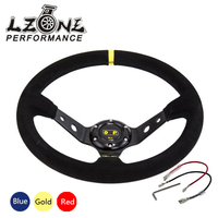 LZONE RACING Steering Wheel ID 14inch 350mm OMP Deep Corn Drifting Steering Wheel Suede Leather Steering