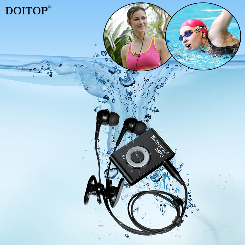 DOITOP 8GB Mini Waterproof Swimming MP3 Player Sports Running Riding MP3 Walkman Hifi Sereo Music MP3 Player With FM Radio Clip
