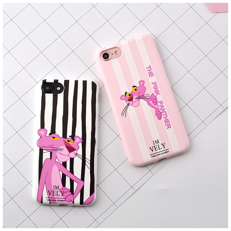 2016 Pink Panther Painted Soft TPU Phone Capa Case For iphone 6 6plus Case, Silicone Clear Back Funda Cover For iphone 7 7 plus