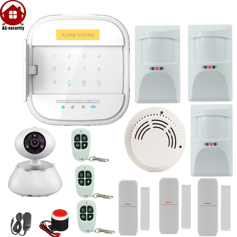 Anti- Pet Wireless Wifi GSM Alarm Home Security System IOS Android APP with Pet Immune PIR Detector IP Camera Singal Repeater