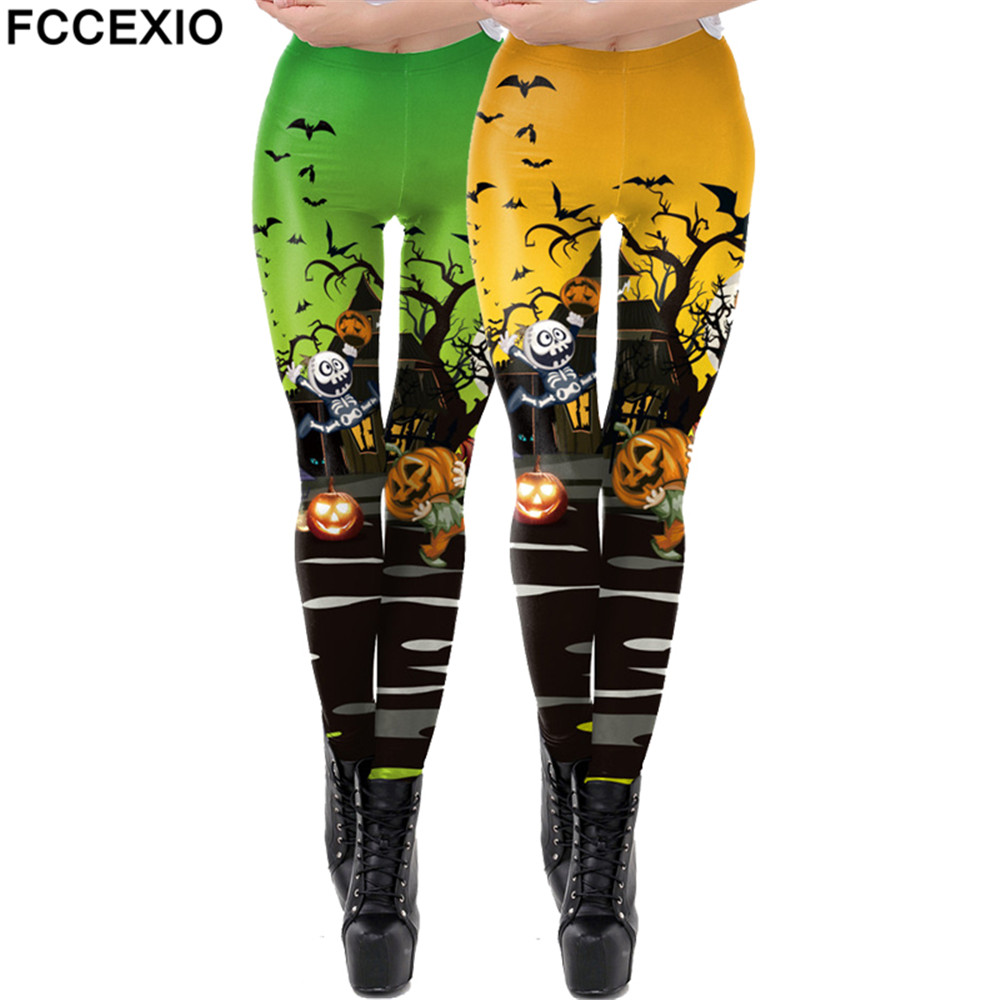 FCCEXIO Halloween Women Leggings Soft Elastic Workout Push Up Pants Gold Loong Print Fitness Leggings 3D Trousers Pumpkin Pants(China)