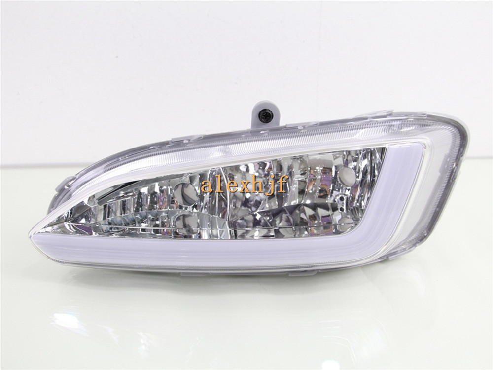 July King LED Light Guide Daytime Running Lights DRL, Fog Lamp Assembly Case for Hyundai 2013 All new Santa Fe (AU) / 2012 IX45 july king car led light guide drl led daytime running lights case for nissan qashqai 2007 2013 pasting at fog lamp positon