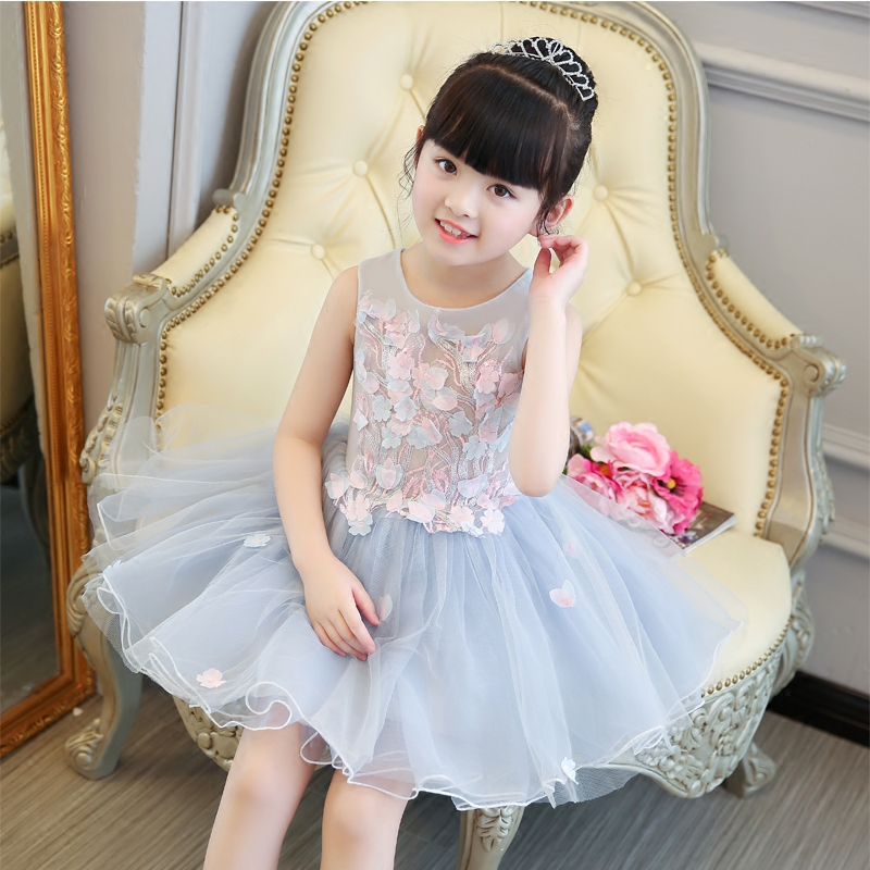 2017 New Korean Sweet Appliques Flowers Tutu Girls Birthday Dress Baby Girls Party Dress Wedding Ball Gown Flowers Girls Clothes цены онлайн
