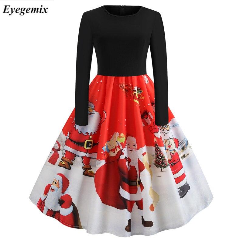 cc8fe87dc66 Detail Feedback Questions about Winter Women Christmas Dress Long Sleeve  Print Vintage Party Dress Elegant Black Patchwork Bodycon Dresses Vestidos  Plus ...