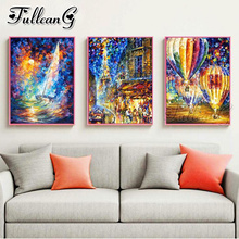 FULLCANG 3pcs diamond embroidery sale abstract landscape painting triptych full square/round drill nordic style FC1115