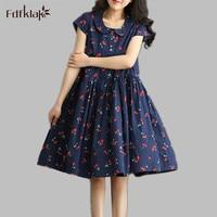 2016 New Fashion Summer Plus Size Loose Fresh Cherry Print Cute Womens Dress Casual Cotton Linen