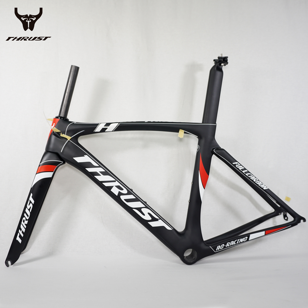 THRUST T1000 UD Full Carbon Bike Frame 49 52 54 56 58cm Carbon Frame 58cm China Road Bicycle Frame White and Black PF30 53cm 55cm 58cm fixed gear bike frame matte black bike frame fixie bicycle frame aluminum alloy frame with carbon fork