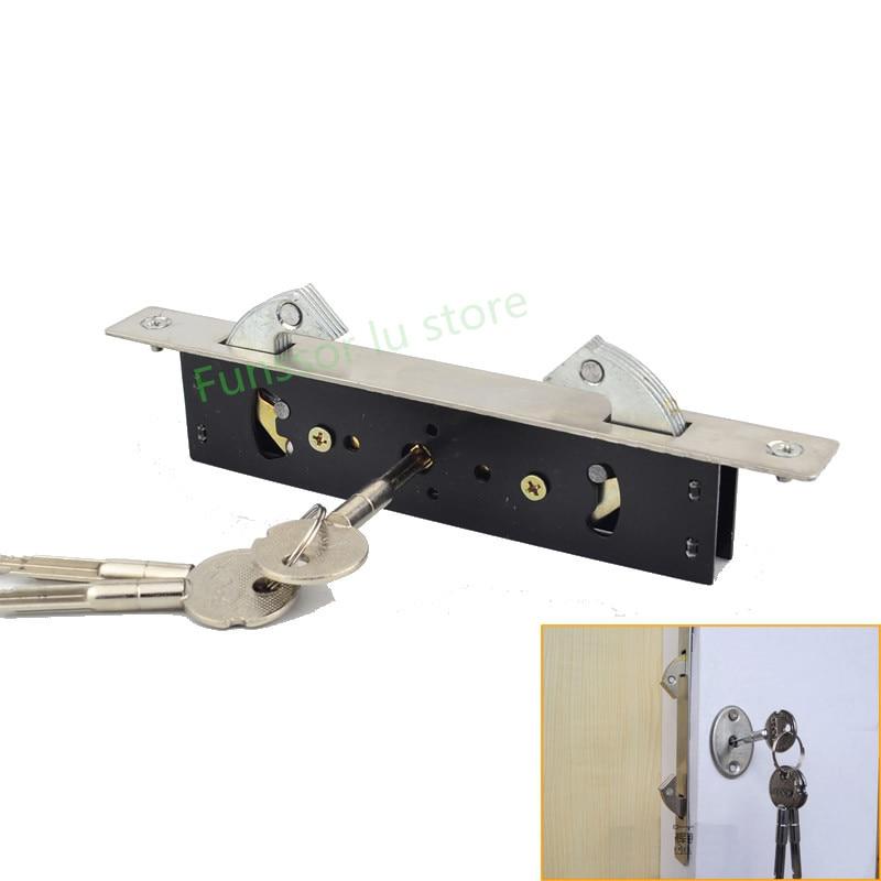 Stainless steel,Hanging door/Pull gate Double Hook lock, Stealth lock,For Framed glass door,strong, durable,Door hardware