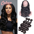 360 Lace Frontal With Bundle Brazilian Virgin Hair 3 Pcs Brazilian Body Wave With Closure 360 Lace Frontal Closure With Bundles