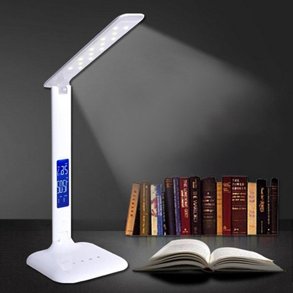 Nouveau USB créatif pliant LED bureau lumière soin des yeux Dimmable contrôle tactile LCD calendrier lecture Table lampe intelligente Gece Lambas