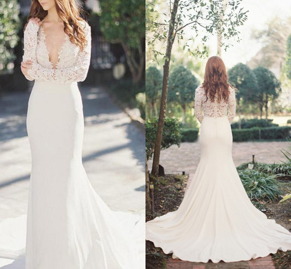 Elegant Mermaid Lace Wedding Dresses 2019 With Long Sleeves Plunging V Neck Simple Bridal Gowns Vestido De Noiva Mariee Gelinlik